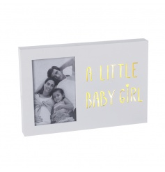 A beautiful wooden LED sign with photo frame. Ideal for displaying those favourite snaps of your little one.