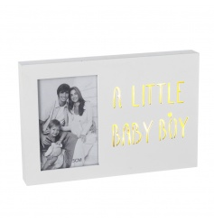A beautiful wooden LED sign with photo frame. Ideal for displaying those favourite snaps of your little baby boy.