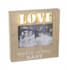 A chic wooden photo frame with LED love sign