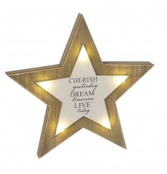 A gorgeous 3D wooden star decoration with led lights and cherish slogan.