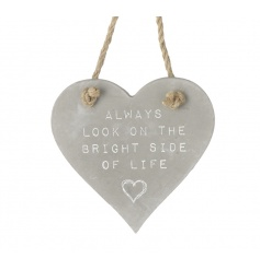 Grey ceramic hanging heart plaque