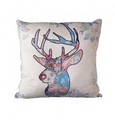 A pretty cushion with a stag design, complete with a patchwork floral and check print.
