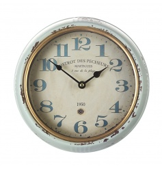 Antique style clock with a distressed and worn finish