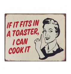 Humorous metal wall plaque with vintage design