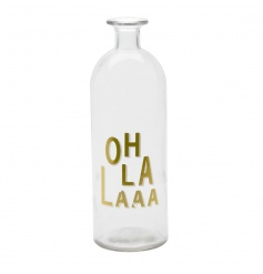 A stylish Oh La La Glass Bottle with gold text. A great decorative item for the home.