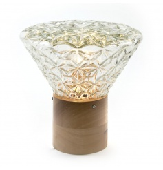 A stunning antique inspired table lamp with a unique crystal style glass top.