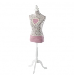 A large floral mannequin with a polkadot heart and trim. A stylish item and home accessory. Ideal for display too!