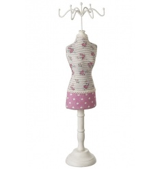 A pretty ditsy floral and polkadot mannequin. A stylish dressing table essential!