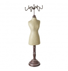 A vintage inspired jewellery holder with a wooden base.