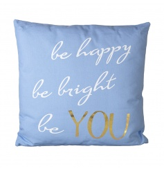 Large blue fabric cushion with script