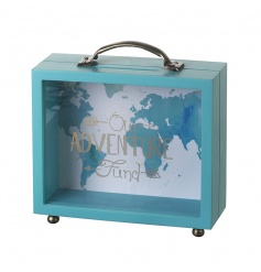 wooden money box in the shape of suitcase