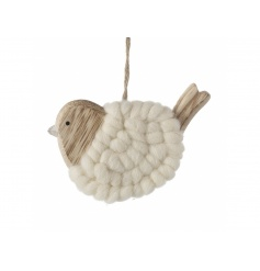 Hanging wooden bird decoration with wool finish