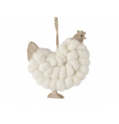 Hanging wooden chicken decoration with wool finish