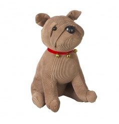 A cute little cord doggy doorstop, in a beige hue complete with a red collar with bells