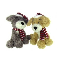 An assortment of 2 scruffy dog toys each with a stripe hat and scarf. An adorable friend for little ones.