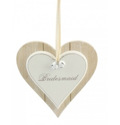 Wooden double heart decoration with Bridesmaid Script