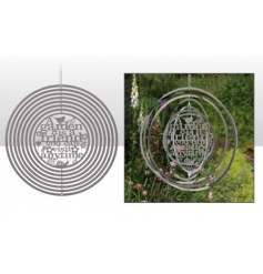 Metal spinning decoration with garden cutout text