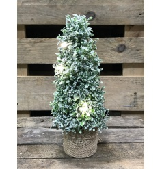 A charming topiary tree with a rustic hessian base, frosted finish and lights.