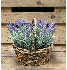 A fine quality wicker basket filled with artificial lavender. A fantastic home accessory and gift item.