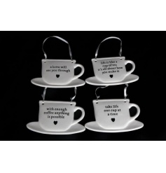 An assortment of 4 teacup shaped signs, each with lovely sentiment slogans.