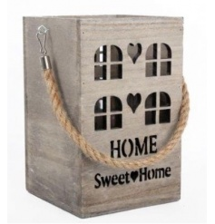Rustic wooden lantern with Home Sweet Home cut out