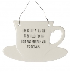 Quirky cup shaped hanging ceramic sign