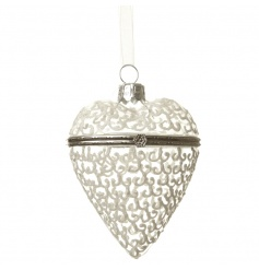 hanging glass heart with painted spirals