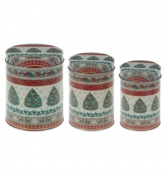 A set of 3 tin canisters with a vintage tree design. A great storage item for the festive season.