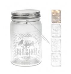 Chic and unique glass mason jar lanterns with lights. Each mason jar features a different festive slogan.