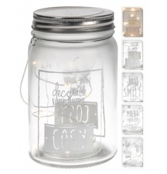 Chic slogan mason jars with pretty led lights. A great festive accessory for the home.