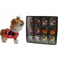 An assortment of glass dog ornaments, each in a vintage design. Each ornament is individually boxed.
