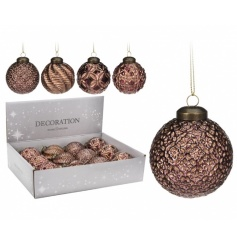 4 assorted decorative baubles in a rich warm hue and patterned surface.