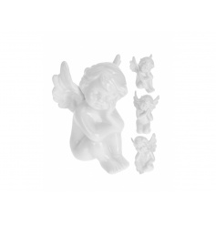 3 assorted Cherub ornaments with a white glazed finish.
