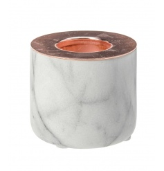A chic and stylish white marble t-light holder with copper top.