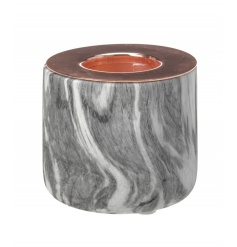 A chic marble effect t-light holder in grey with on trend copper top.