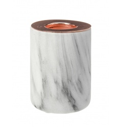 A chic white and grey marble effect t-light holder with copper top.