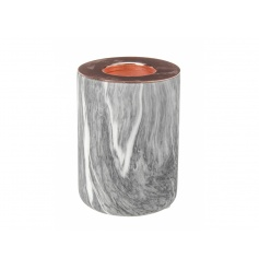 A stylish grey and white marble t-light holder with copper top.
