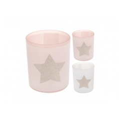 Pink and white t-light holders with gold glitter star feature.