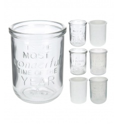 Assorted slogan t-light holders in clear and frosted designs each with festive slogans.