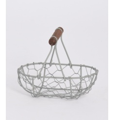 Wire Basket with Wooden Handle