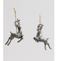 2 assorted silver hanging deer decorations