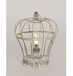 Rustic style grey crown lantern with bulb LED