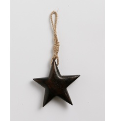 A stylish and chunky wooden star decoration with jute rope hanger