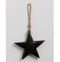 A stylish and chunky wooden star decoration with jute rope hanging.