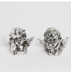 A mix of 2 charming cherub decorations with an antique silver finish.