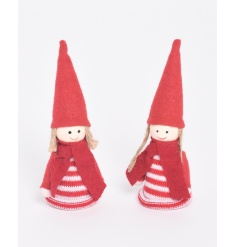 A mix of 2 adorable festive figures in knitted nordic items.