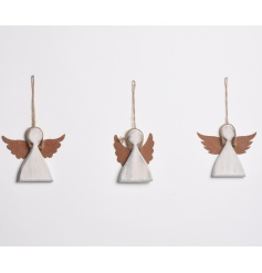 A mix of 3 charming hanging angels with metal rustic wings and jute hangers.