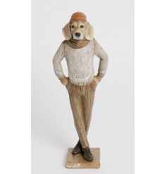 A stylish and unique dog figure with outfit. A charming gift for dog lovers and a quirky home accessory.