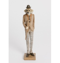 A stylish dressed dog figure with top hat and cane. A quirky and unique home accessory.