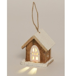 Cute little wooden house with LED Lights inside